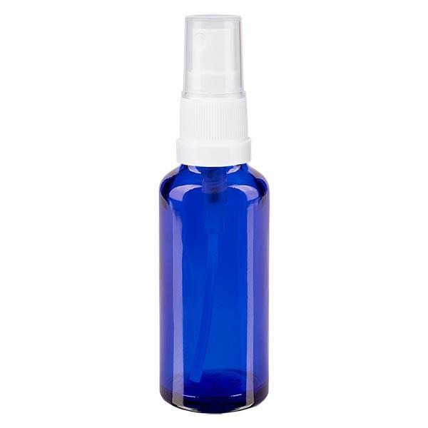 Blauglasflasche 30ml mit Pumpzerstäuber weiss