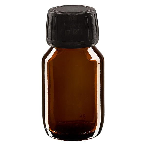 50ml Euro-Medizinflasche braun mit schwarzem Schraubverschluss OV