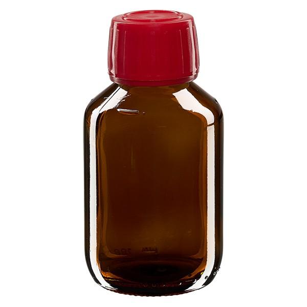 100ml Euro-Medizinflasche braun mit rotem Schraubverschluss OV