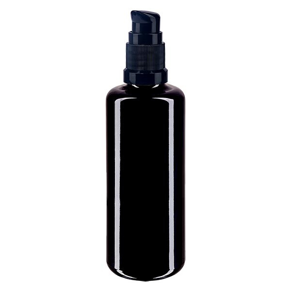 Violettglasflasche 50ml mit Pumpverschluss schwarz