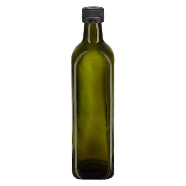 750ml Ölflasche eckig Olivgrün inkl. Schraubverschluss Schwarz (PP 31.5mm) mit Ausgiessring OV
