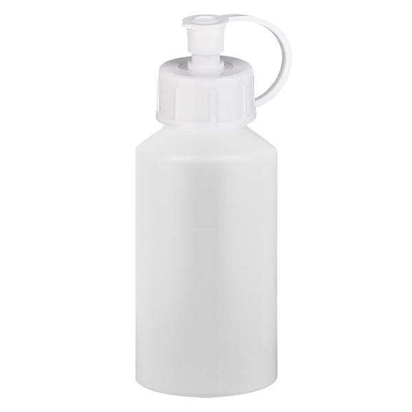 PET Zylinderflasche 50ml weiss, S20x3 mit weissem Spritzverschluss