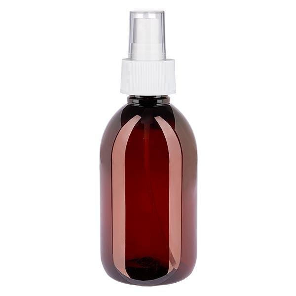 250 ml PET Medizinflasche mit Zerstäuber weiß GCMI 28/410 inkl. Kappe transparent, Standard
