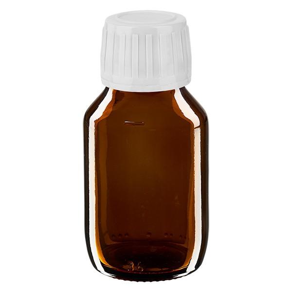 50ml Euro-Medizinflasche braun mit weissem Verschluss OV