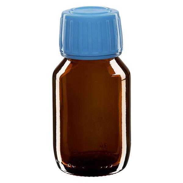 50ml Euro-Medizinflasche braun mit blauem Schraubverschluss OV