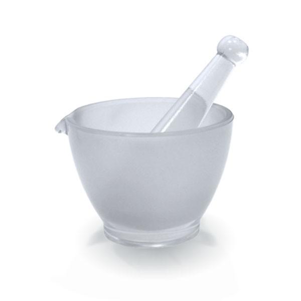 Mörser Ø 100mm mit Stößel (Pistill) und Ausguss aus hitzefestem Borosilikatglas (raue Oberfläche)