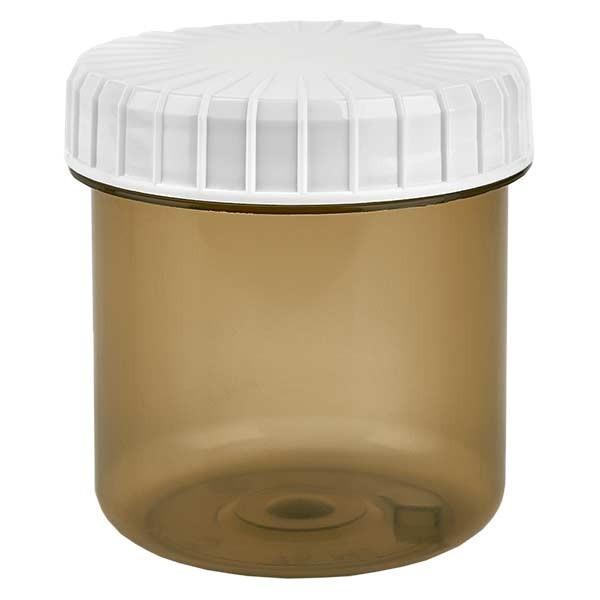 Kunststoffdose 75ml Shadow mit gerilltem weissen Schraubdeckel aus PE, Verschlussart Standard