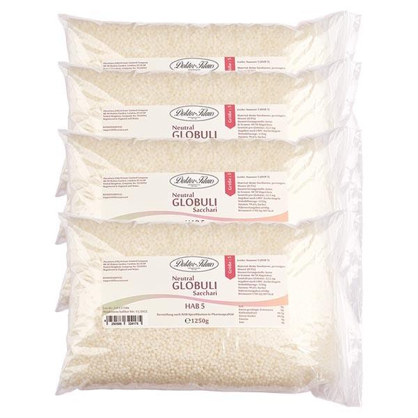 Sonderangebot 5kg Neutral Globuli HAB5 aus 100% reiner Saccharose (4 x 1.25kg)