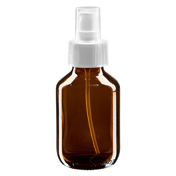 100ml Euro-Medizinflasche braun mit weissem Zerstäuber inkl. transparenter Kappe