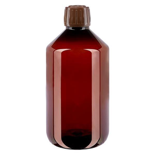 PET Medizinflasche 500ml braun (PET Medizinflasche) PP28, mit braunem OV