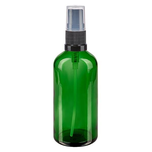 Grünglasflasche 100ml mit Pumpzerstäuber schwarz