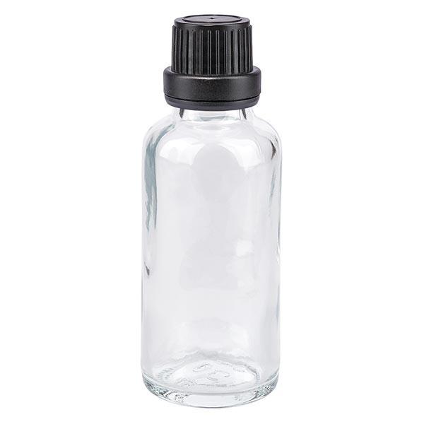 Apothekenflasche klar 30ml Tropfverschluss Pr. 2mm schwarz OV