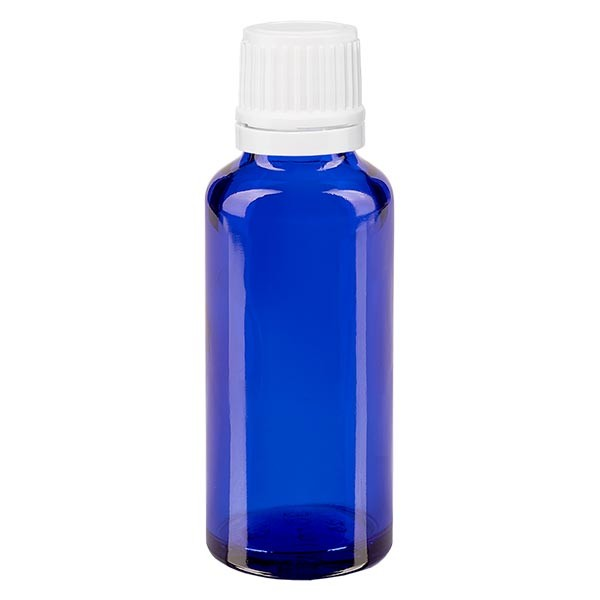 Apothekenfl. blau 30ml Tropfv. 1.2mm weiss OV