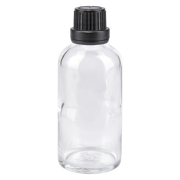 Apothekenflasche klar 50ml Tropfverschluss Pr. 2mm schwarz OV