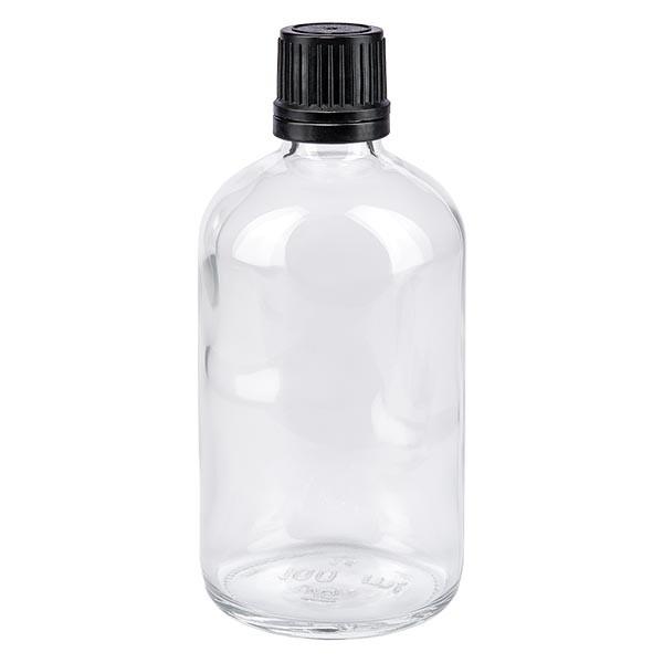 Apothekenflasche klar 100ml Tropfverschluss Pr 1mm schwarz OV