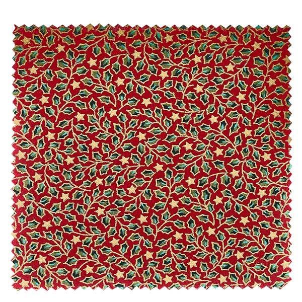 1 x Stoffdeckchen 150x150mm rot 'Stechpalme' für Deckel Durchmesser 43-100mm