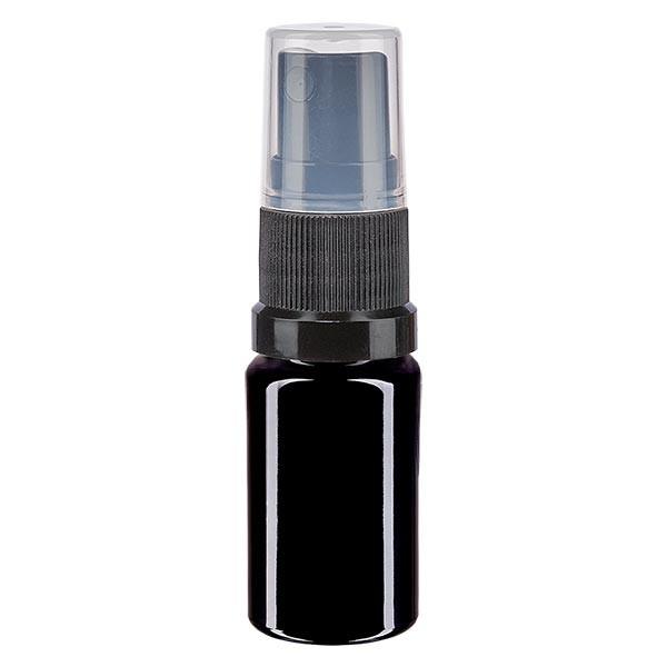 Violettglasflasche 5ml mit Pumpzerstäuber schwarz