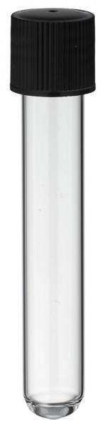 Reagenzglas 100x16mm mit GL18 Gewinde und Schraubkappe aus PE - Schwarz mit Gummidichtung