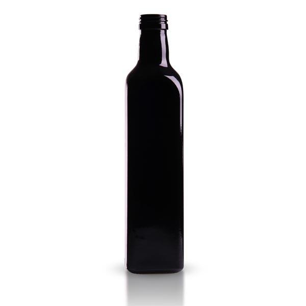 Oelflasche Violettglas eckig 500 ml