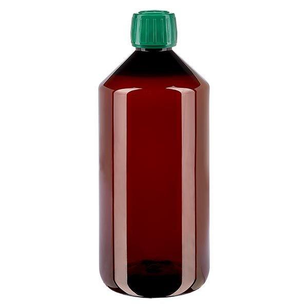 PET Medizinflasche 1000ml braun (Veralflasche) PP28, mit grünem OV