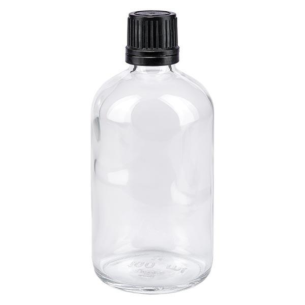 Apothekenflasche klar 100ml Schraubverschluss schw. Giessr. OV