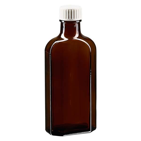 125 ml braune Meplatflasche mit DIN22 Mündung, inkl. Verschluss weiss aus PP mit PE-Schaumeinlage