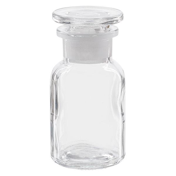 Apothekerflasche 100 ml Weithals Klarglas inkl. Glasstopfen