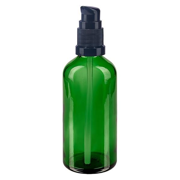 Grünglasflasche 100ml mit Pumpverschluss schwarz