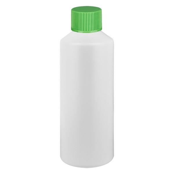 PET Zylinderflasche 100ml weiss, S20x3 mit grünem SV