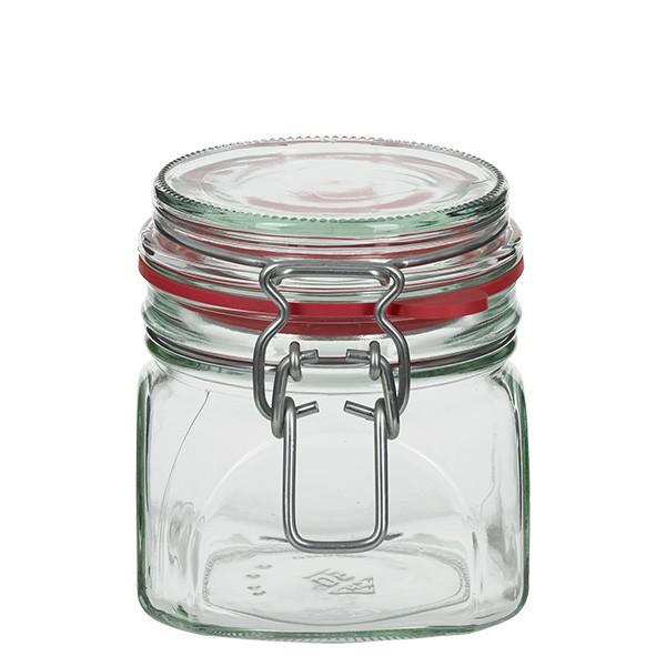 370 ml Drahtbügelglas / Spannbügelglas eckig, für Pasteurisation geeignet