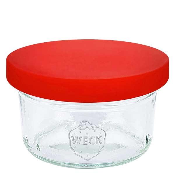 50ml Sturzglas WECK RR60 mit Silikondeckel rot