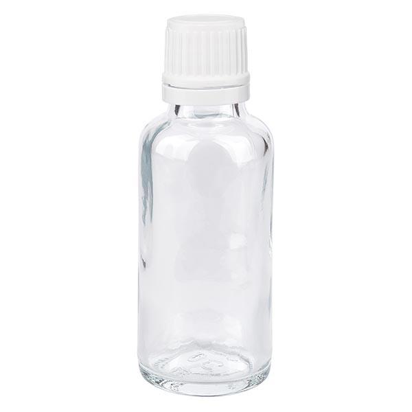 Apothekenflasche klar 30ml Tropfverschluss 1.2mm weiss OV