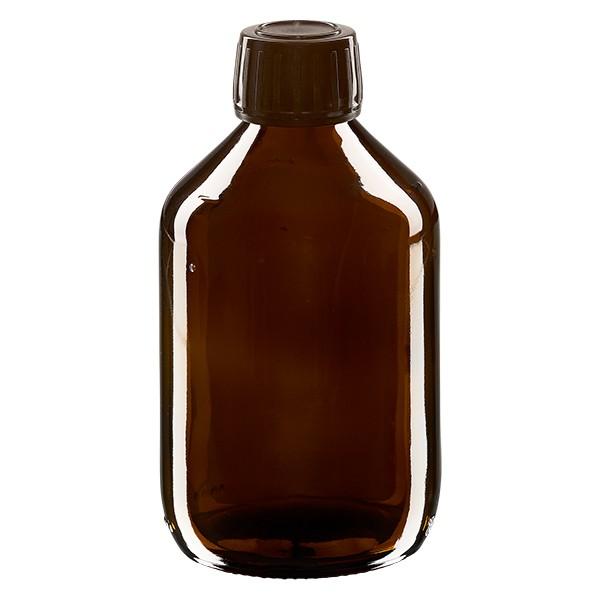 300ml Euro-Medizinflasche braun mit braunem Schraubverschluss OV