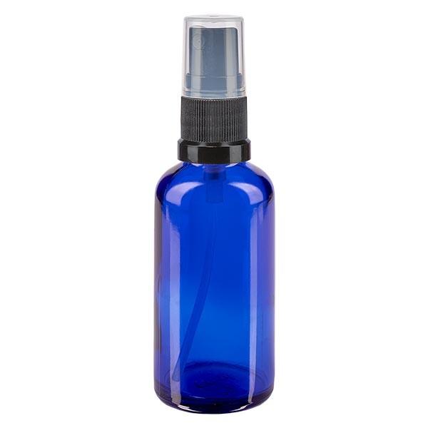 Blauglasflasche 50ml mit Pumpzerstäuber schwarz