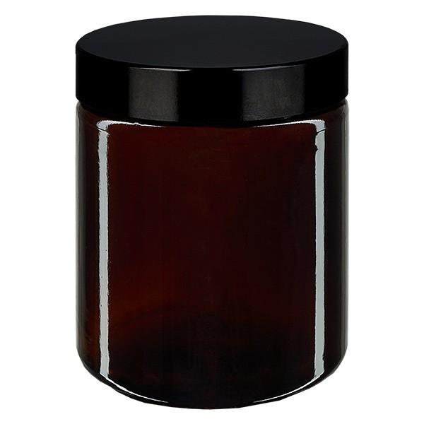 Glastiegel 180ml braun, mit schwarz. Bakelit Deckel