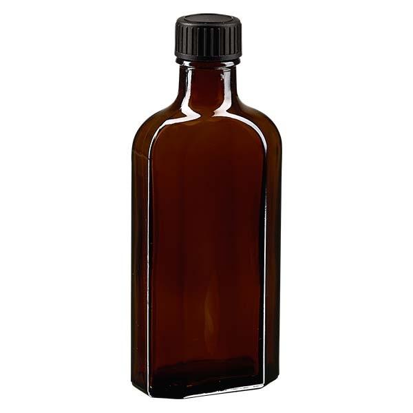 125 ml braune Meplatflasche mit DIN 22 Mündung, inklusive Schraubverschluss DIN 22 schwarz aus LKD