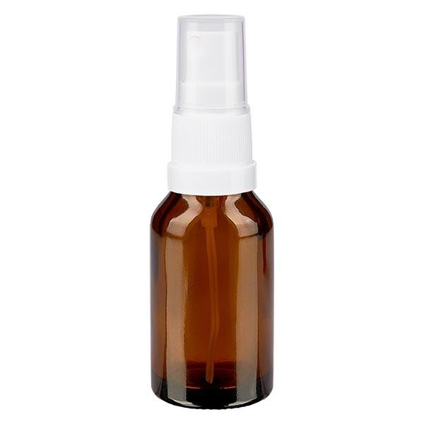 Braunglasflasche 30ml mit Pumpzerstäuber weiss