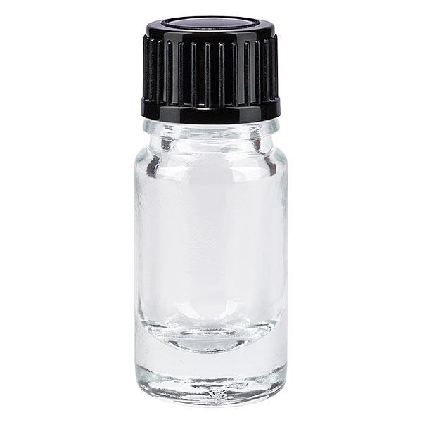 Apothekenflasche klar 5ml Schraubverschluss schwarz Standard