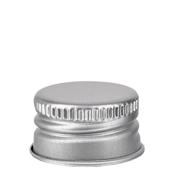 Schraubverschluss 18mm silber Alu geriffelt mit Bördelrand und Dichtscheibe