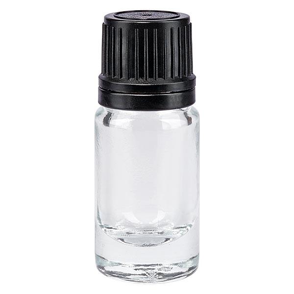 Apothekenflasche klar 5ml Tropfverschluss Pr. 1mm schwarz OV