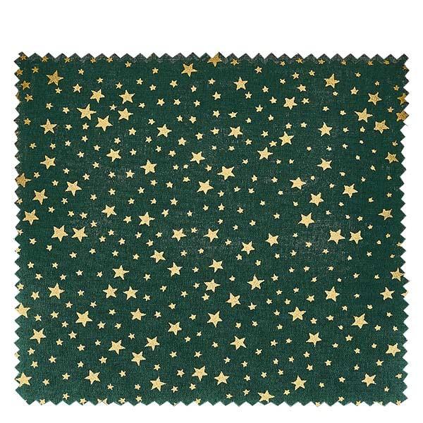1 x Stoffdeckchen 150x150mm Grün mit goldenen Sternen für Deckel Durchmesser 43-100mm-Copy