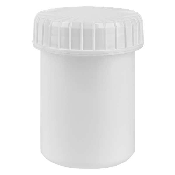 Kunststoffdose 40ml weiss mit gerilltem weissen Schraubdeckel aus PE, Verschlussart Standard