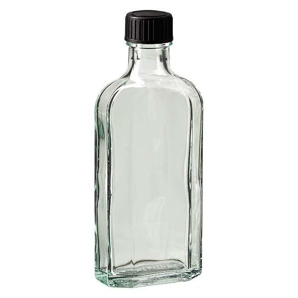 125 ml weiße Meplatflasche mit DIN 22 Mündung, inklusive Schraubverschluss DIN 22 schwarz aus EPE