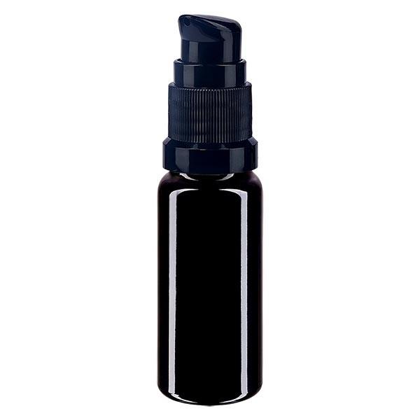 Violettglasflasche 10ml mit Pumpverschluss schwarz