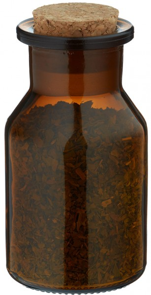 Gewürzglas Idee: 100 ml Steilbrustflasche Weithals Braunglas inkl. Korken