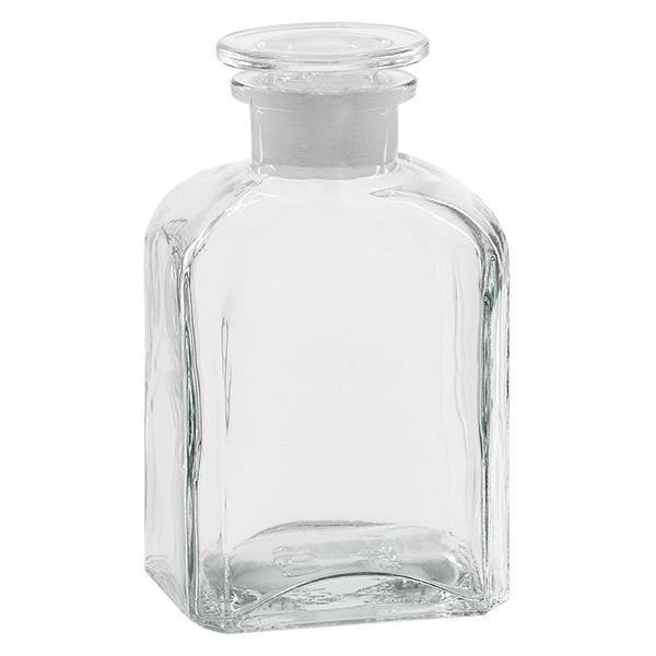 Vierkant-Apothekerflasche 500 ml Weithals Klarglas inkl. Glasstopfen