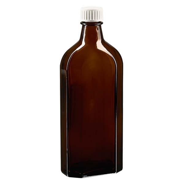250 ml braune Meplatflasche mit DIN 22 Mündung, inkl. Verschluss weiss aus PP mit PE-Schaumeinlage