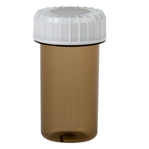20ml Kunststoffdose Shadow braun transparent inkl. Schraubdeckel gerillt weiss