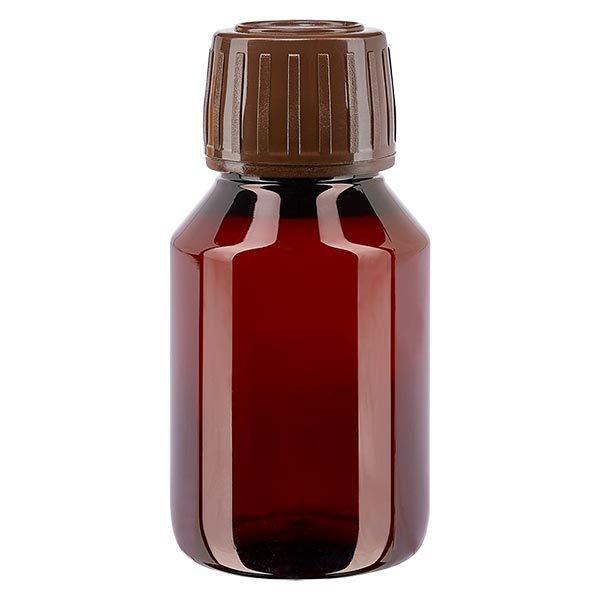 PET Medizinflasche 50ml braun (Veralflasche) PP28, mit braunem OV