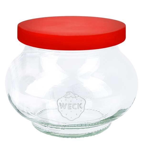 220ml Schmuckglas WECK RR60 mit Silikond. rot